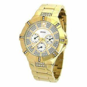 GUESS Gold Tone Multi Dial Sparkling Crystal Watch